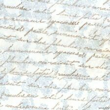 Rachel Ashwell vintage french script pastel blue rubber stamped ribbon 4 154