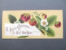 Antique Christmas Greetings Card Strawberries 1878  L Prang Victorian Chromo