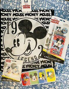 🌟NIB Disney Mickey Mouse Bag, tin pencil Box tin & School Supplies-Set Of 8