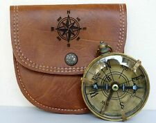 Handmade Antique Brass Magnetic Compass w/ Leather Case Vintage Marine Compass