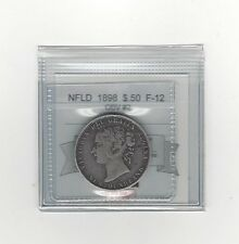 **1898 Obv#2 Sm W**, Coin Mart Graded, Newfoundland $.50 Cent,**F-12**