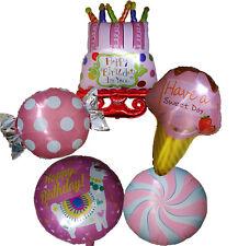 PINK BIRTHDAY CAKE CANDY LOLLIPOP ICE CREAM BALLOON 16th 18th 21st 1st BIRTHDAY