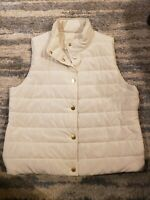 Michael Kors Womens XL White Puffer Vest NWOT  Gold Accents