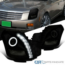 For 03-07 Cadillac CTS Black Smoke LED DRL Strip Halo Projector Headlights Pair