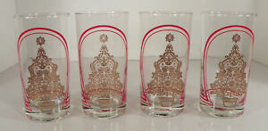CHRISTMAS TREE Red Arch Highball Glass Tumbler (s) LOT OF 4