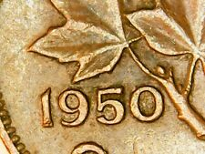 1950 Canada Brown Circulated Cent Die Clash Over Date King George VI Penny