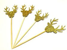 12 x Gold Rudolf the Red Nose Reindeer Christmas / Xmas Cupcake Toppers
