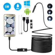 5M Snake Endoscope Borescope 5.5mm 6LEDs Inspection Camera Scope for Android Hot