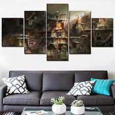 Sci Fi Steampunk Building City 5 panel canvas Wall Art Home Decor Print Poster