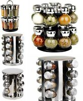 STAINLESS STEEL GLASS SPICE HERB JAR JARS REVOLVING STAND RACK HOLDER