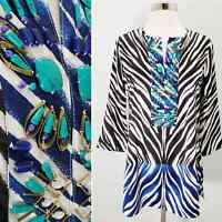 Chico's Embellished Tunic Top Women's Black Label Silky Zebra Turquoise 00 XS