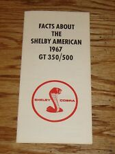 1967 Ford Shelby GT 350 GT 500 Facts Sales Brochure 67 Cobra