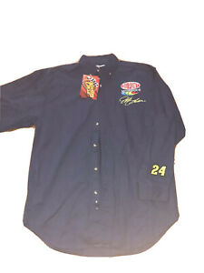 Vintage Jeff Gordon Mens Large L Button Down Dupont NASCAR Racing Polo Shirt
