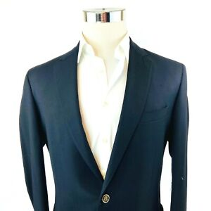 Saks 5th Avenue Black Wool Slim 2 Button Dual Vent Blazer Sport Coat 40L