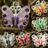 50x Silver Plated Enamel Butterfly Pendant Charms Jewelry Making Craft 35*30mm