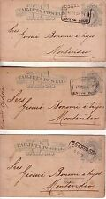 ARGENTINA - 1881 THREE  POSTAL CARDS CIRCULATED FROM CONCORDIA TO MONTEVIDEO