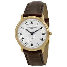 Frederique Constante Slim Line Dial de plata chapado en Oro Reloj Unisex 235M4S5