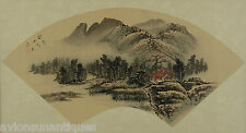 Chinese Landscape Fan Shape Painting Signed Framed