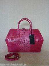 NWT FURLA Rosada Pink Red Croc Embossed Leather Papermoon Satchel Bag - $448
