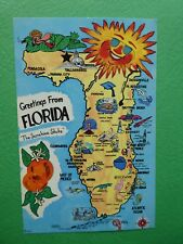 Florida Greeting Map Souvenir Post Card