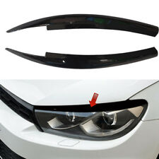 Black For VW Scirocco 2009 - 2017 Car Head Light Lamp Eyebrow Eyelid Cover Trim