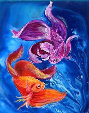 BETTA DANCE Original 12x16 Art FISH Painting Sherry Shipley