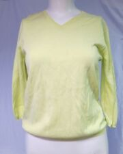 TSE YELLOW COTTON V-NECK 3/4 SLEEVE PULL ON BASIC  SWEATER TOP  SZ XS