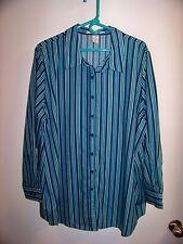 Romain's Womans Blouse Striped Button Down Top Long Sleeves Sz 2X Longer Length