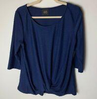 W5 Women's Top Size Large 3/4 Sleeves Dark Blue Casual Textured Twist Waist