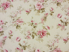 ENGLISH ROSE LINEN T58 CURTAIN BLIND DRESSMAKING CRAFT FABRIC FLORAL FLOWERS