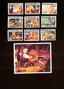 TURKS & CAICOS ISLANDS - Sc 442-451 VFMNH. DISNEY - Pinocchio, Christmas - 1980