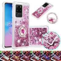 For Samsung S21 Note20 Ultra S20 FE 5G Glitter Bling Case Quicksand Stand Cover