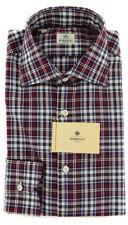 New $450 Borrelli Burgundy Red Plaid Shirt - Extra Slim - 17.5/44 - (EV65440RIO)
