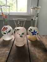 LOT 3 Vintage BARTLETT COLLINS FROSTED / CLEAR GLASS VASES, HANDPAINTED FLOWERS