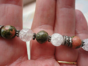 Green pink Unakite jasper + crackle quartz 8 mm wide 20 gram stretch bracelet