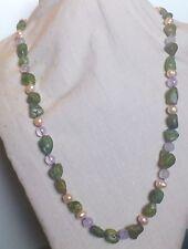 Collana lunga a nodi peridoto, perle di fiume rosa e ametista Argento 925
