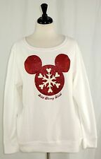Disney World XL Top Mickey Mouse Red Sparkle Glitter Snowflake Long Sleeve