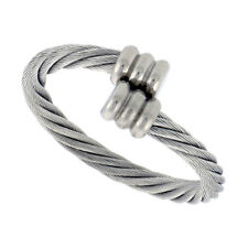 Stainless Steel Rope Design Adjustable Cable Ring (Fits Sizes 8-9)