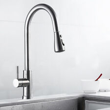 Brushed Mixer Sink Kitchen Taps Pull Out Swivel Spary Single Handle Steel Faucet