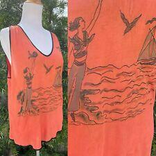 Vintage 1920s 1930s Authentic Beach Pajama Sailor Top Custom Art Handmade Coral