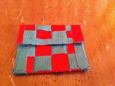 1-of-a-kind handmade duct tape wallet Red Green Basket weave pattern coin purse