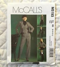 McCalls 5193 Jacket Vest Skirt Pants Sewing Pattern 8 10 12 14 Lined Business