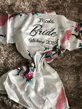 Personalised Wedding Robe, Bride Dressing Gown Satin Bridesmaid maid of honour