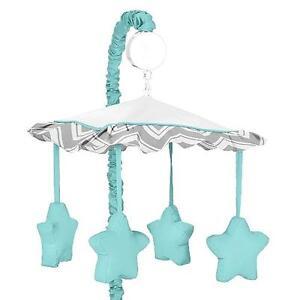 NEW Sweet Jojo Design Chevron Zig Zag Musical Baby Crib Mobile in Turquoise/Grey