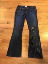 "True Religion Women's Jeans Size 25 ~ ""Joey"" Embroidered Twist flare"