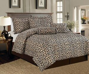 7 PCS Leopard Print Comforter set Micro Fur Twin, Full, Queen, Cal King