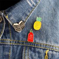 3PCS Enamel Book Pineapple Brooch Pin Shirt Collar Pin Badge Corsage Jewelry WH