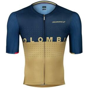 2021 Suarez Colombian Collection_-Men's Short Sleeve Cycling Jersey Blue & Gold
