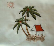 3-piece Beige Coconut Trees Kitchen Window Curtain Set Drapes Cafe Tier & Swag