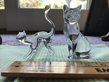 Two Beautiful Clear Glass Cats. One Is Lenox. The Other.Art Glass. 5�